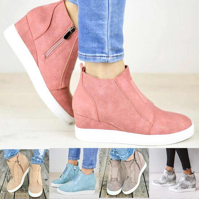 Nữ Giày Sneaker Quàng Nam Tăng Lên Đồng Màu Nền Tảng Giày Wedge Gót Thời Trang Thun Giày Nữ Mắt Cá Chân Boot