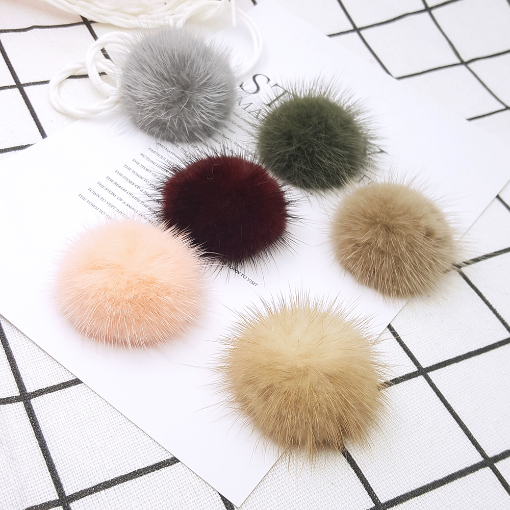 LAVIDA F30 4pc 5cm Mink Fur Half Ball/Fur PomPoms/DIY Shoes Earring Ring Clothing Materials/Jewelry Accessories/Hand Making