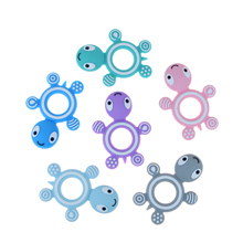 Happyfriends 1pcs Cute Cartoon Animal Turtle Teether Ring Food Grade Silicone Baby Chew Teething Toy DIY Teethers