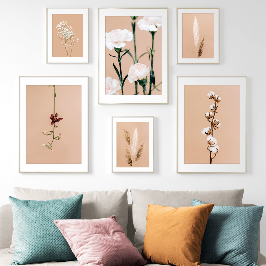 Nature Plant Reed Carnation Vintage Wall Art Canvas Painting Nordic Posters And Prints Wall Pictures For Living Room Home Decor