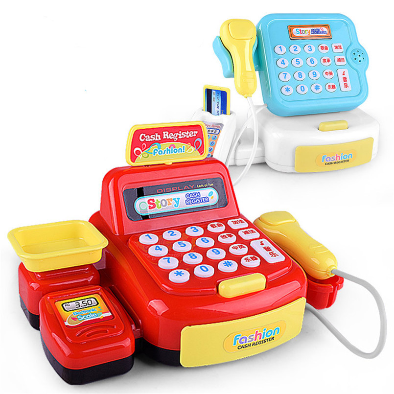 Mini Simulated Supermarket Checkout Counter Role Cashier Cash Register Toy Kids Educational Pretend Play Set Toys For Girls Gift