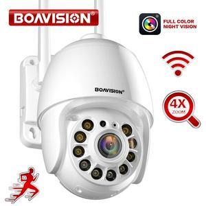 IP-камера с Wi-Fi, PTZ, купольная уличная камера с автоматическим отслеживанием движения, 4-кратным цифровым зумом, двухсторонней разговором, 1080P, ...