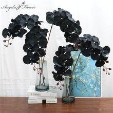 105 см Искусственный цветок Черная бабочка Орхидея шелк фаленопсис для свадьбы Рождество украшение дома сад в горшке поддельные растения