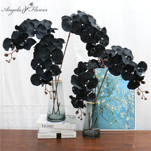 105cm Artificial flower black butterfly orchid silk phalaenopsis for wedding Christams home decoration garden potted fake plants(China)