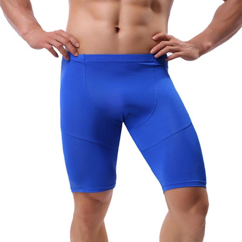 Men Fitness Shorts Pants Ice Silk Seamless Underwear Sexy Pyjama Leggings Sports Quick-drying Underwear Gay Sleepwear Plus Size