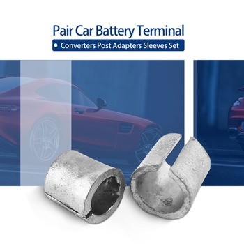 Pair Car Battery Terminal Converters Post Adaptors Sleeves Set Battery Post Adapters Sleeves 1 x NEG & 1 x POS image