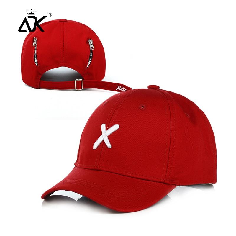 Letter Embroidered Baseball Cap Men Cotton Hats Personality Zipper Caps Red Black White Orange Hat Adjustable Unisex Cap
