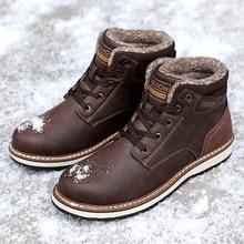 High Quality Men Vintage British Military Boots Men's Pu Leather Autumn Winter Size 46 Plush Snow boots Lace-up Men Shoes %9704 snow honey peach h501b 2234