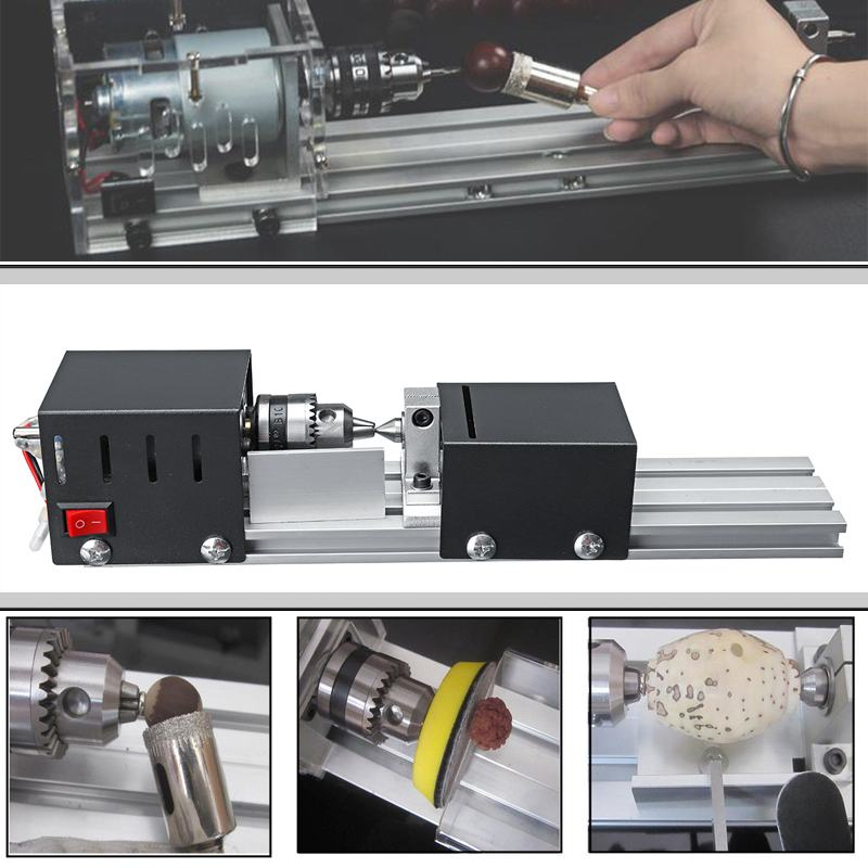 Image 2 - 200W CNC Mini Lathe Machine Tool torno DIY Woodworking Wood lathe Milling machine Grinding Polishing Beads Drill Rotary Tool Set-in Lathe from Tools