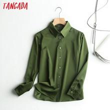 Tangada-chemise en satin vert, manches longues, couleur unie, rabattue, élégante tenue de bureau, de haute qualité, 6D4