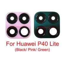 Traseira traseira da câmera lente de vidro capa para huawei p40 lite p40lite frente principal lente da câmera de vidro preto rosa verde