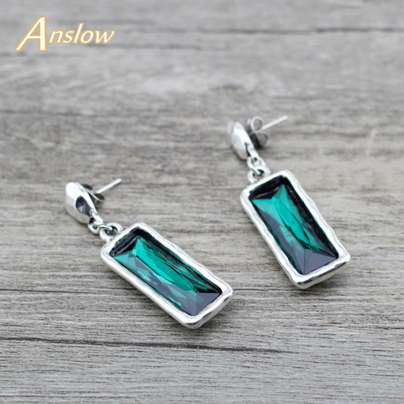 Anslow New Fashion Jewelry Vintage Square Crystal Women Female Earrings For Wedding Engagement Friendship Gift LOW0150AE