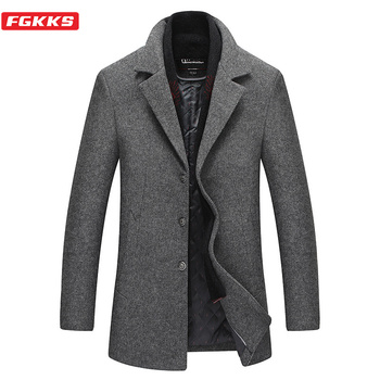 FGKKS Winter Brand Men Wool Blends Coats Men's Solid Casual Warm Coats Male Turn-down Collar Wool Coat(Removable Scarf)