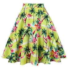 Flamingo Midi Cotton Casual Skirt Green Leaf Floral Printed Vintage Plus Size Swing Skirts Womens High Waist Cotton A Line Gowns(China)