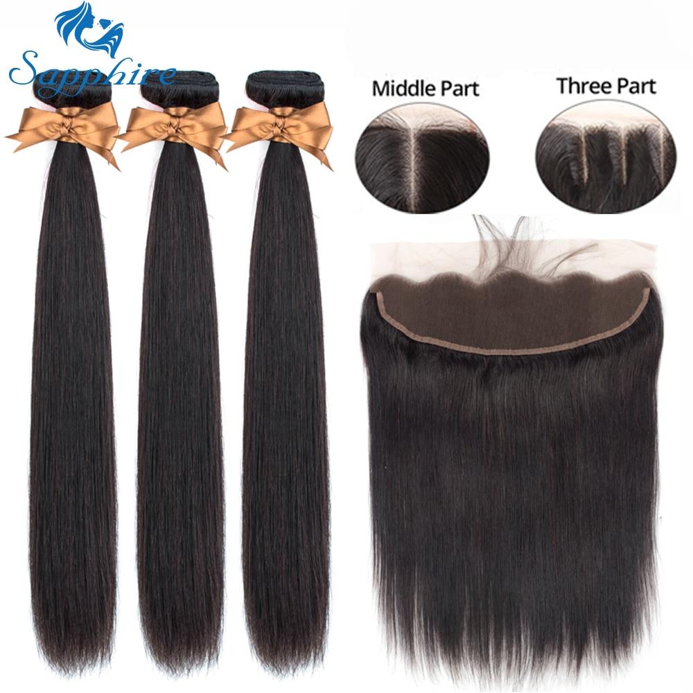Szafirowe proste włosy przednie z wiązkami wiązki ludzkich włosów z przednimi brazylijskimi splotami włosów z zamknięciem przednim w 3/4 pasma z siateczką od Przedłużanie włosów i peruki na AliExpress - 11.11_Double 11Singles' Day 1