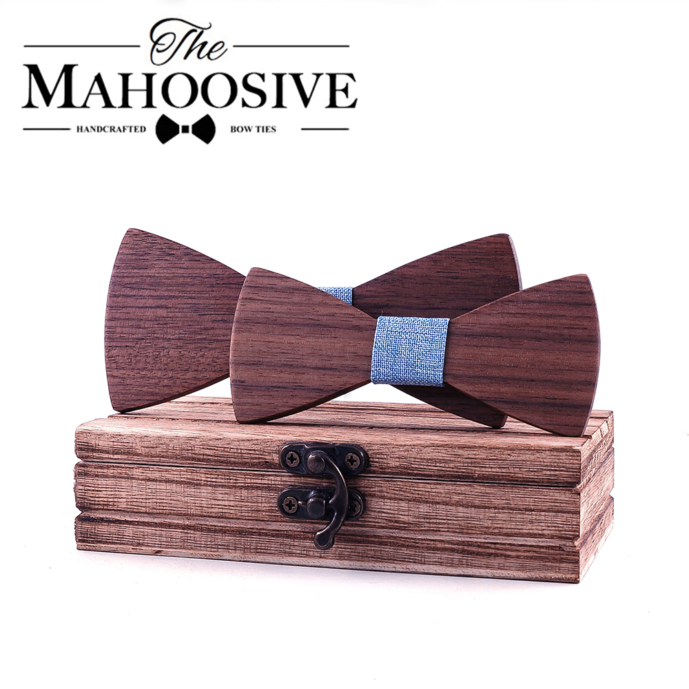 School Boys Kids Children Bow Wedding Plaid Solid Wood Tie Necktie Wooden Bow Tie Necktie For Wedding Party Adjustable