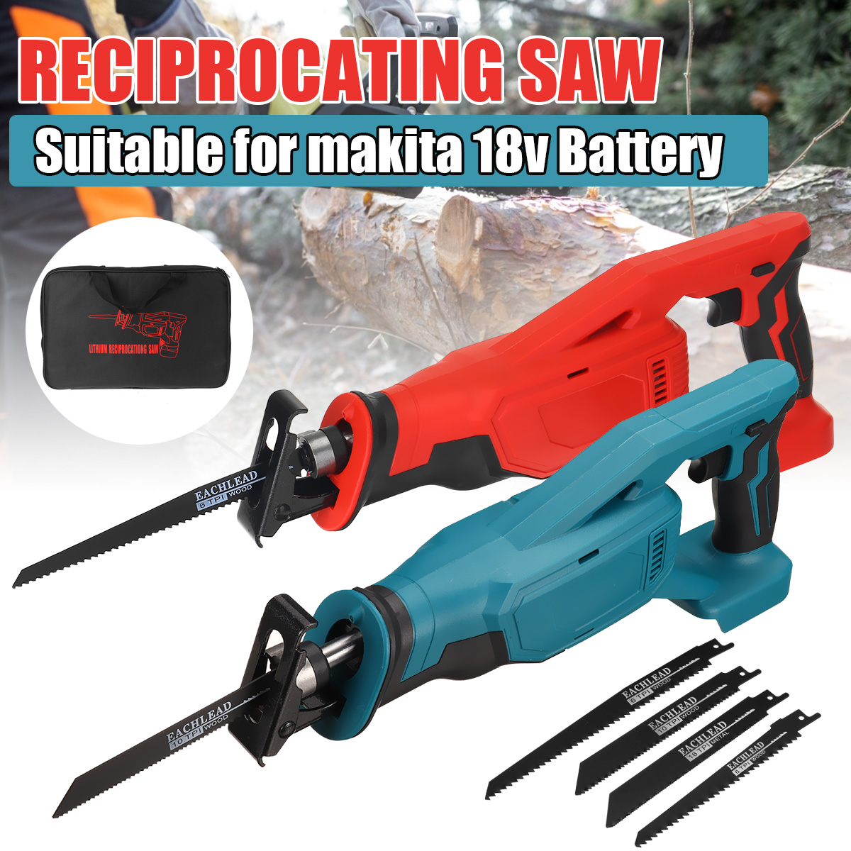 Electric Saw Cordless Reciprocating Saw Woodworking Cutting DIY Power Handheld Saw Tool with 4 Saw Blades for 18V Makita Battery