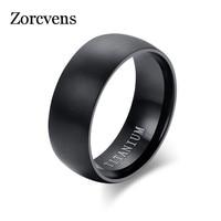 Modyle de los hombres de la moda de anillo de color negro titanio acabado mate clásico anillo de compromiso, joyería para hombre boda