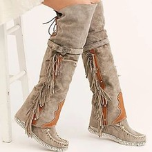 2019 Fashion Bohemian Boho Knee High Boot Ethnic Women Tassel Fringe Faux Suede Leather Hight Boots Woman Girl Flat Long Booties(China)