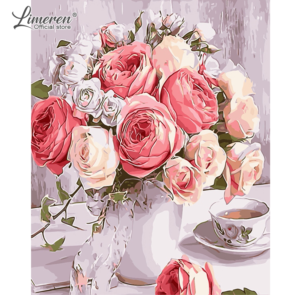 DIY Oil Painting By Numbers Rose Flowers In Vase Wall Art Pictures On Canvas Coloring By Numbers Hand Painted Home Decoration