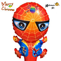 10pcs balloons spiderman foil Halloween party Mickey Mouse cartoon figure Christmas party refueling hand stick for kids 001ZY
