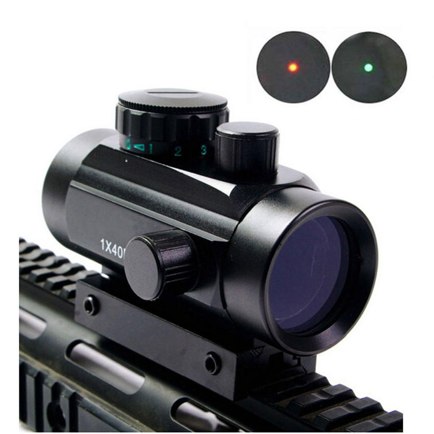 1X40 Tactical Holographic Red Green Dot Rifle Scope Sight for 11mm 20mm Picatinny Mount Optical Sight Scope Red Dot Scope