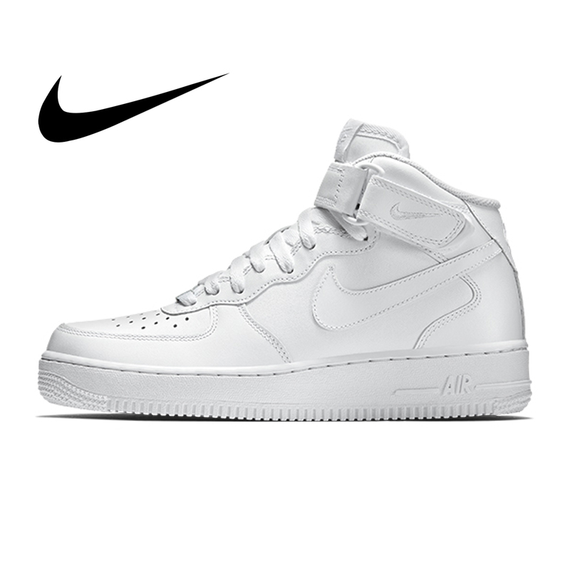 Origina Nike Air Force 1 AF1 Men's Skateboarding Shoes Sports Wear Resistant Fashion High-top Outdoor Sneakers White 315123-111