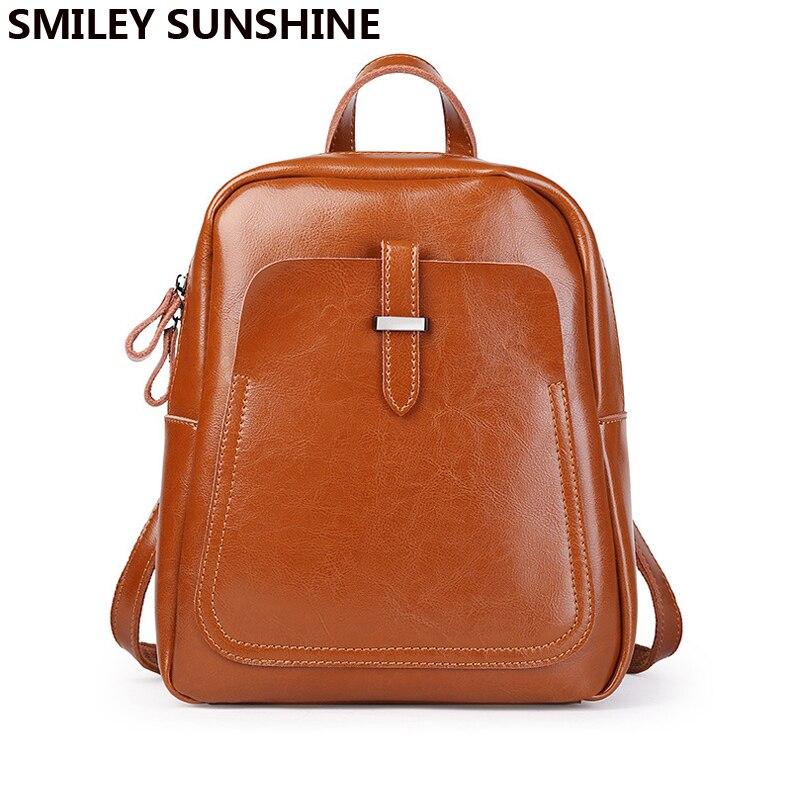Mulheres mochilas de couro genuíno 2019 do vintage mochila marrom ombro feminino mochila para mulher bookbag faculdade de volta à escola