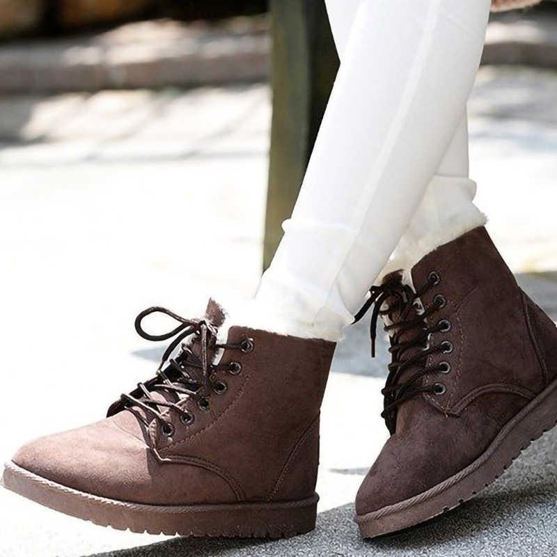 2019 Winter Faux Wildleder Knöchel Stiefel für Frauen Schnee Stiefel Warm Plüsch Pelz Lace-up Stiefel Casual Flache Plattform damen Schuhe