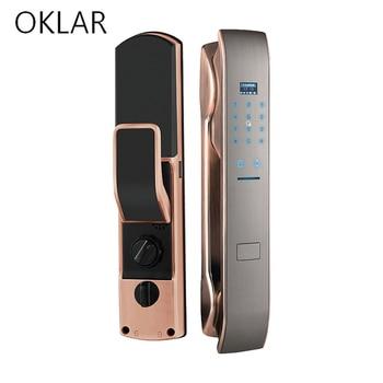 OKLAR Electronic door lock Smart Lock Automatic Fingerprint Door Lock Home Wooden Door Remote Password Recognition Anti-theft