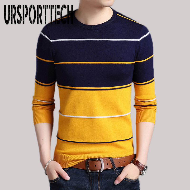 2019 New Fashion Brand Sweater Mens Pullover Striped Slim Fit Jumpers Knitted Woolen Autumn Winter Casual Sweaters Men Clothes