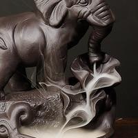Back flow Retro Ceramic Elephant Backflow Incense Burner Censer Waterfall Incense Holder Aromatherapy Yoga calm Incense Burner
