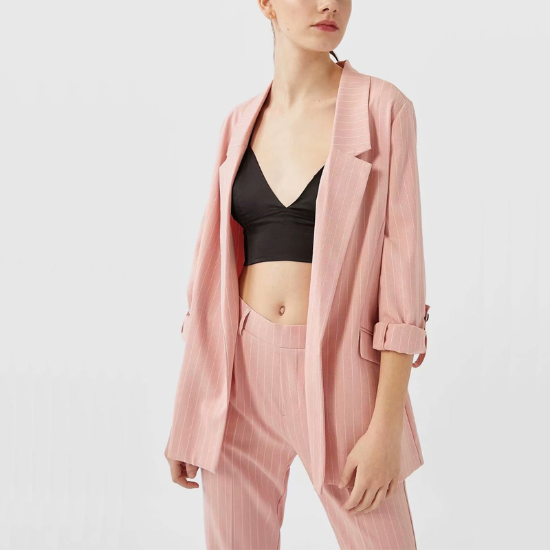 Spring Women Suit Leisure Stripes None Button Suit Pocket Decoration