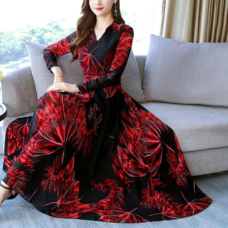 Fashion Women Boho Floral Print Party Beach Long Sleeve Casual V-Neck Floral Printed Maxi Dress M~3XL