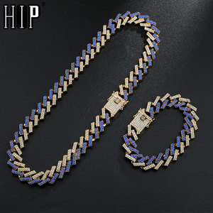 Hip Hop 15MM Bling Iced Out Crystal Cuban Paved Rhinestone Miami Zircon Men's Necklaces Bracelet For Men Jewelry 8/16/18/20/24in