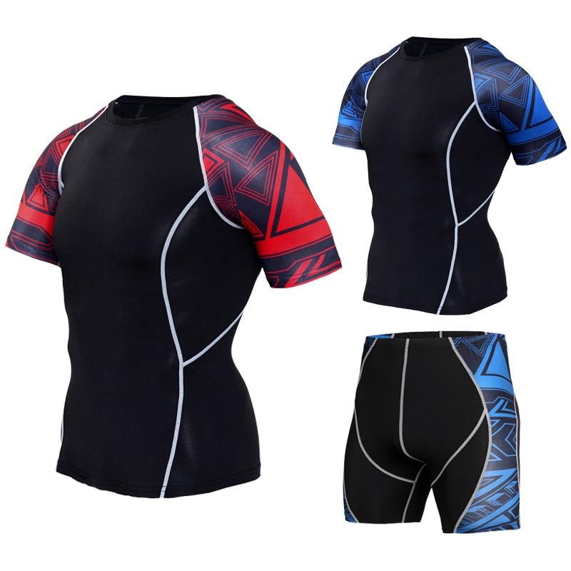 Camisa de Compressão T-shirts de Fitness Masculino Compressão Ginásio Terno Esporte Camisa 3d Impressão Manga Curta Correndo Roupas T875 Mma