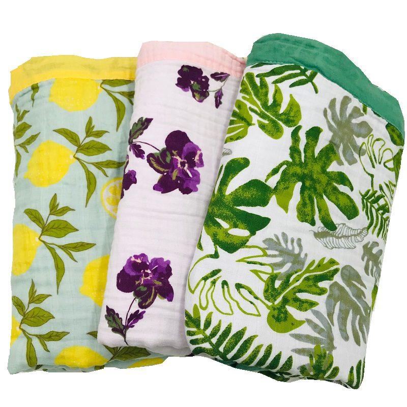 Lemon & Rainforest 4 Layer 100% Cotton Muslin Baby Blankets For Newborn Swaddling Super Comfy Bedding Blanket Swaddle Wrap