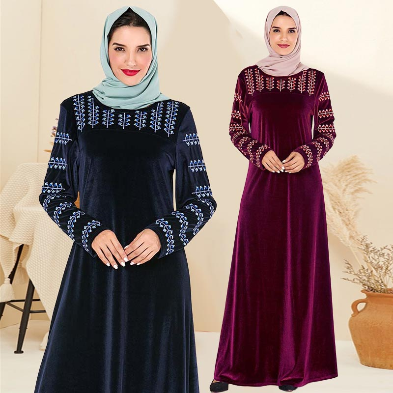 Dubai Kaftan Velvet Muslim Dress Women Maxi Kimono Jubah Long Robe Abaya Hijab Dresses Islamic Clothing Turkey Arabic Dress