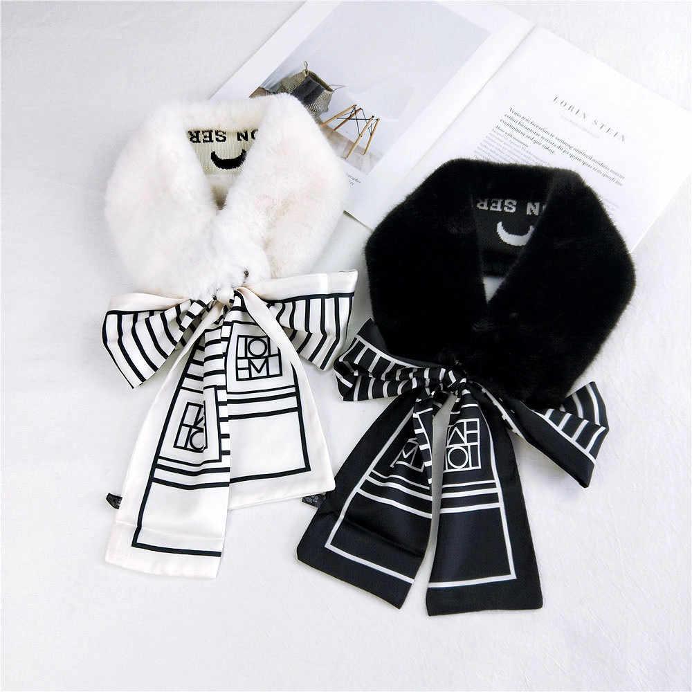2020 ฤดูหนาวใหม่สีขาวสีดำผ้าพันคอผ้าพันคอขนสัตว์ Faux ผู้หญิงหนาคออุ่นผ้าพันคอผู้หญิงเสื้อ Bufandas Invierno mujer