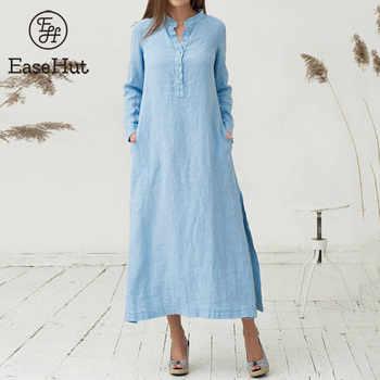 EaseHut Women Cotton Dress 2020 Spring Summer Long Sleeve Maxi Long Dresses Sexy Split Casual Loose Plus Size 4XL 5XL Vestido - DISCOUNT ITEM  30 OFF Women\'s Clothing