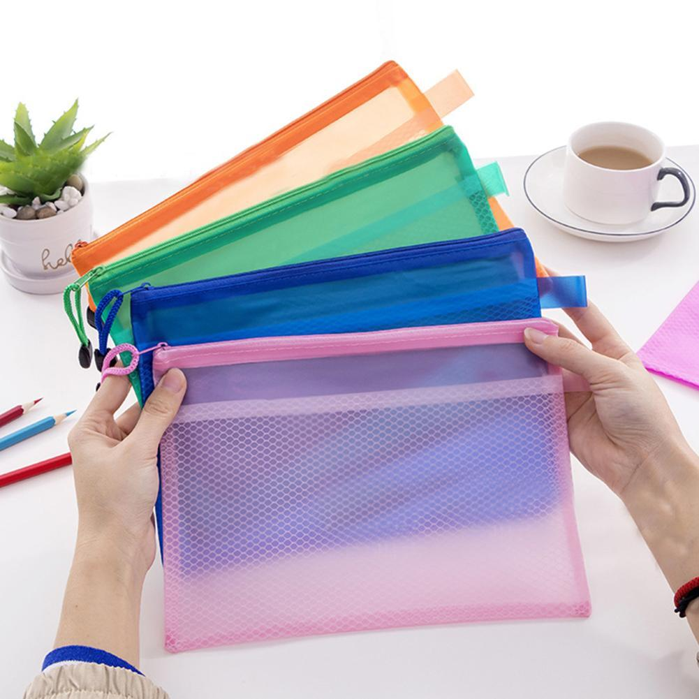 High Quality A5 Plastic Gridding Waterproof Zip Bag Double Layer Paper Document File Bill Zipper Bag Pencil Pouch
