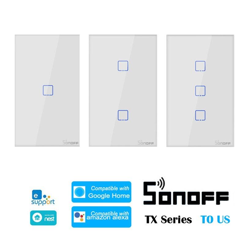 Интеллектуальный выключатель света Sonoff T0-TX серии 1/2/3 Gang нам настенных выключателей, Wi-Fi, умный переключатель умный дом пульт дистанционного ...