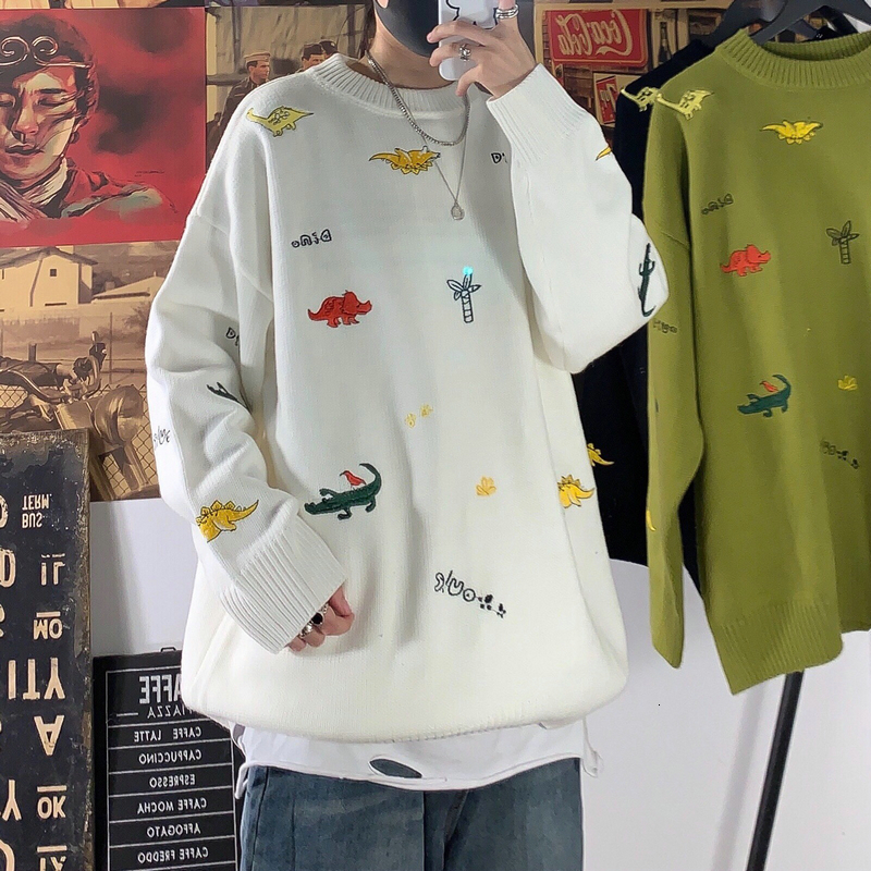 Winter Men's Thick Cartoon Embroidery Clothes Coats Cashmere Sweaters Casual Pullover Round Collar Keep Warm Woolen Knitting
