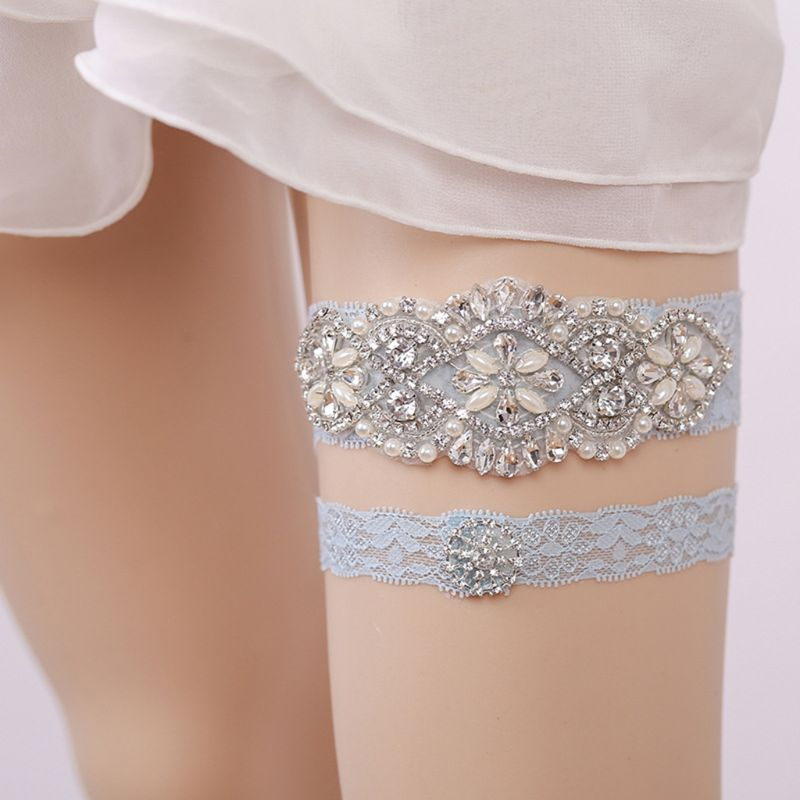 European Ladies Wedding Leg Garters Vintage Floral Lace Glitter Rhinestone Imitation Pearl Jewelry Bridal Stretch Thigh Belt Set