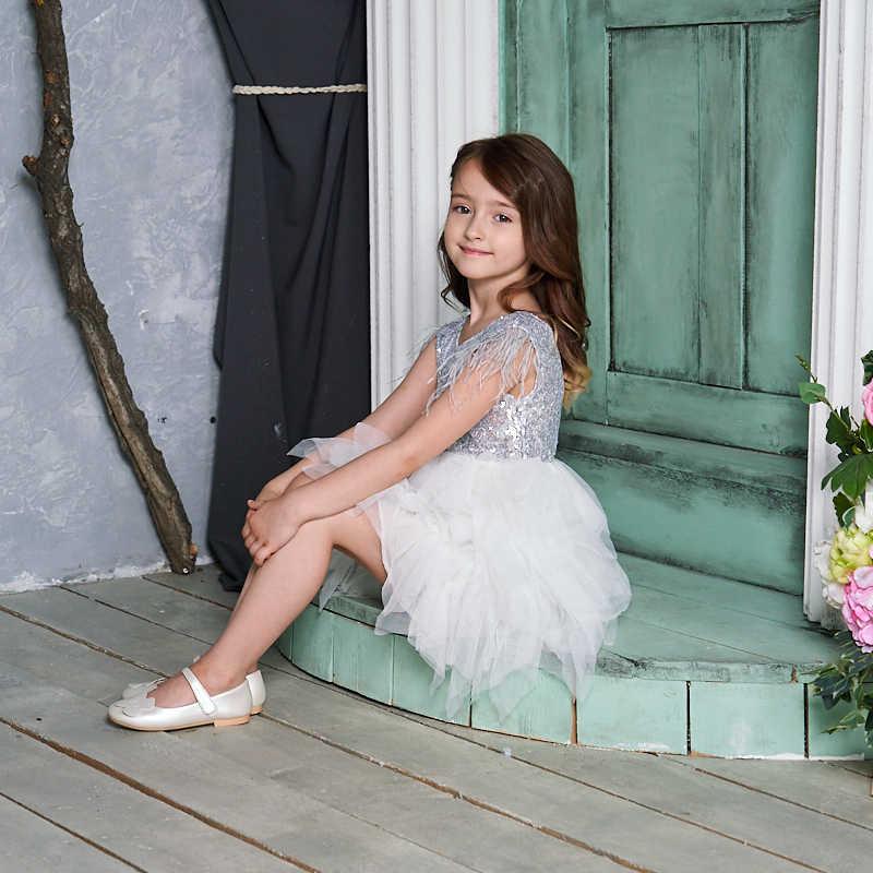 Tüy Sequins katmanlı kız Mini elbise kabarık tül parti çocuklar prenses elbiseler kızlar için bebek giysileri 2-10Y E13846