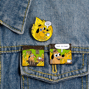 Cartoon Badges Funny Hound Enamel Pin Letter THIS IS FINE Cute Yellow Dog Brooches Bag Clothes Lapel Pin Jewelry Gift Trinkets