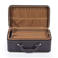 10 x 8 x 4.3 inch PU Leather Jewelry Box Organizer Necklace Case Holder Smooth Velvet Inter Layers Brown Color
