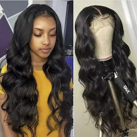 QUINLUX WIGS 13x4 Deep Part Black Long High Temperature Heat Fiber Hair Body Wave Synthetic Lace Front WIgs