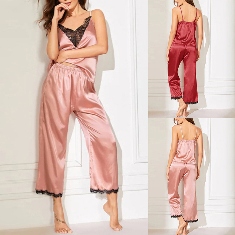Women's Sleepwear Sexy Satin Pajamas Set Women Lace-Like Silk Pyjamas Lace Sexy Loose Pajamas Sets Sleepwear Short Sleeve Tops