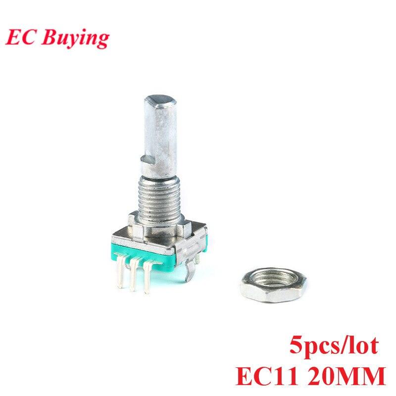 5 pièces codeur rotatif Code commutateur EC11 potentiomètre numérique poignée longueur 20mm avec interrupteur 5 broches